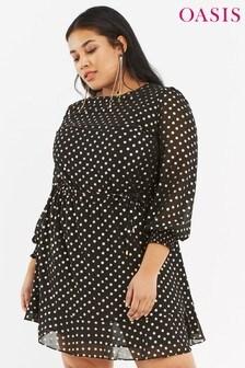 Oasis Black Curve Spot Chiffon Dress