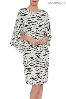 Gina Bacconi Animal Riona Zebra Print Dress