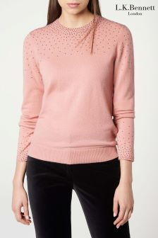 L.K.Bennett Pink Naillie Knitted Top