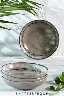 Set of 4 Patterned Melamine Bowls