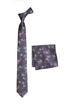Jacquard Floral Tie And Pocket Square Set
