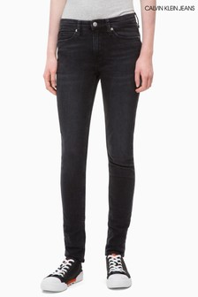 Calvin Klein Jeans Washed Black Mid Rise Skinny Jean