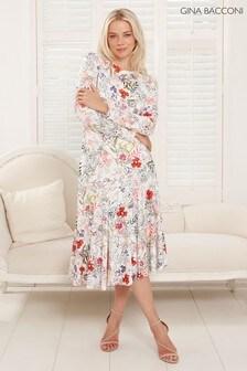 Gina Bacconi White Estrella Floral Asymmetric Dress