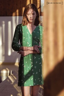 Warehouse Green Verity Ditsy Floral Dress