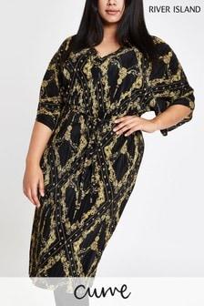 River Island Curve Black Chain Print Plisse Dress