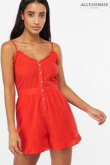 Accessorize Red Frill Cotton Playsuit