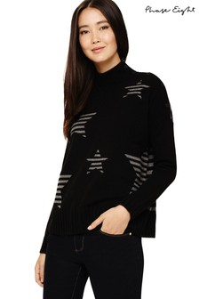 Phase Eight Black Shawna Star Knitted Jumper