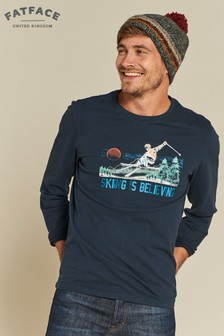 FatFace Blue Skiing Is Believing Graphic Tee