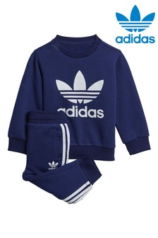 adidas Originals Infant Navy Trefoil Crew and Joggers Tracksuit