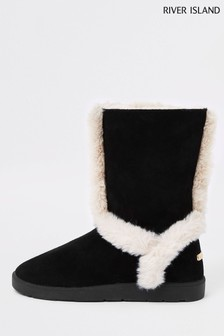 River Island Black Faux Fur Lined Boot