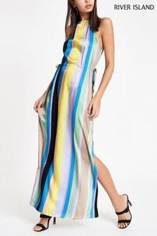 River Island Rainbow Stripe Halter Trapeze Maxi Dress