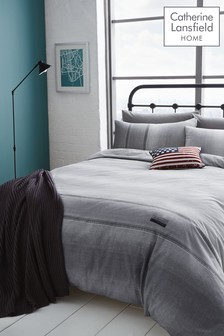 Catherine Lansfield Denim Duvet Cover and Pillowcase Set