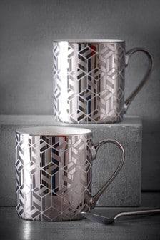 Set of 2 Metallic Mugs