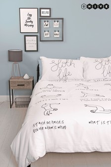 Hive Sloth Life Duvet Cover and Pillowcase Set