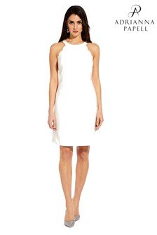 Adrianna Papell White Scalloped Halter A-Line Dress