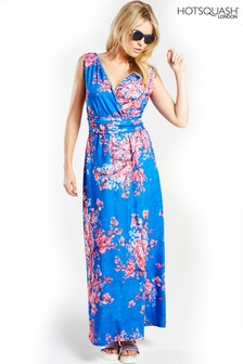 HotSquash Cherry Print V-Neck Maxi Dress