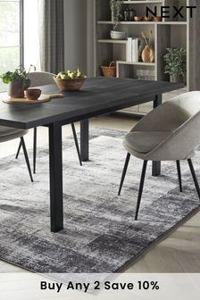 Grey Textured Border Rug