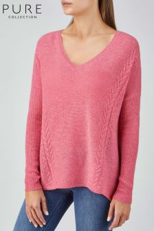 Pure Collection Pink Gassato Cable V-Neck Sweater