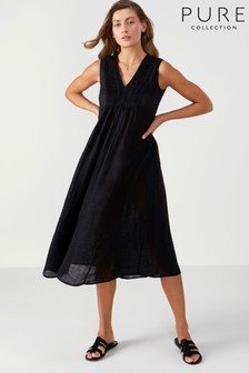 Pure Collection Laundered Linen Midi Dress