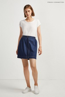 French Connection Blue Jule Contrast Stitch Pocket Skirt