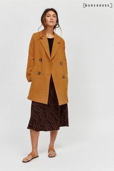 Warehouse Orange Double Breasted Duster Coat