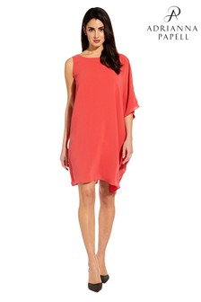 Adrianna Papell Red Gauzy Crepe One Shoulder Dress