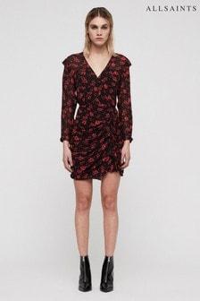 All Saints Black Rose Print Harlow Dress