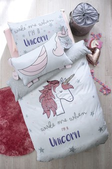 Sequin Swoosh Unicorn Duvet Cover and Pillowcase Set