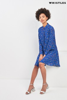 Whistles Blue Ditsy Floral Print Shirt Dress
