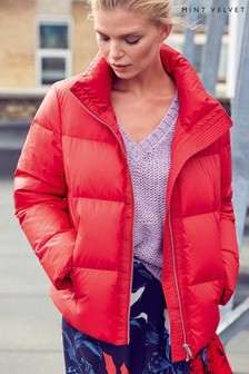 Mint Velvet Red Cropped Padded Jacket