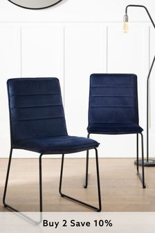 Set of 2 Wilby Dining Chairs With Black Legs