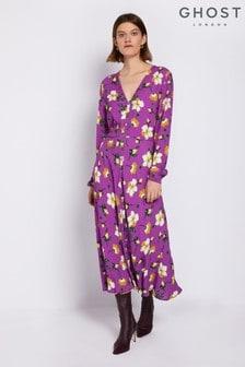 Ghost London Purple Laura Printed Floral Dress