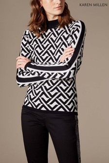 Karen Millen Black Graphic Knit Jumper