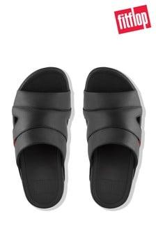 FitFlop™ Black Freeway Pool Slide Leather Sandal