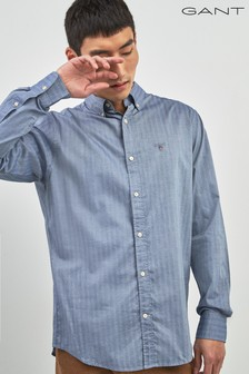 GANT Blue Herringbone Solid Regular Shirt