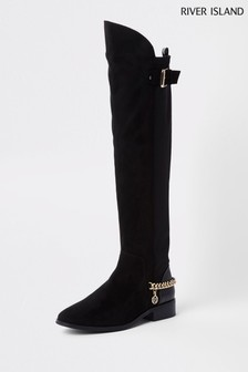 River Island Black Flat Over The Knee Chain Boot