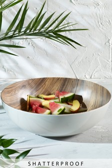 Large Wood Effect Melamine Serve Bowl