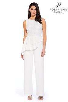 Adrianna Papell White Bead Jumpsuit