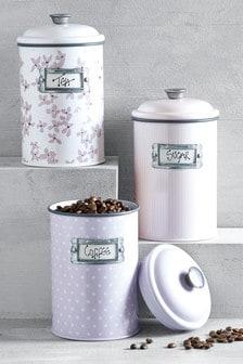 Set of 3 Floral Storage Tins