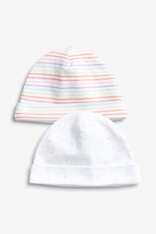 Spot And Stripe Beanie Hats Two Pack (0-18mths)
