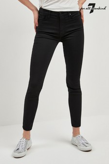 7 For All Mankind® Black Sateen High Waist Crop Skinny Jean