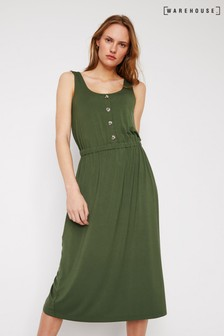 Warehouse Green Button Through Cami Midi Dress
