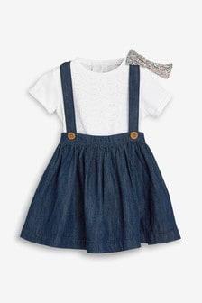 Skirt, Broderie T-Shirt And Headband Three Piece Set (3mths-7yrs)