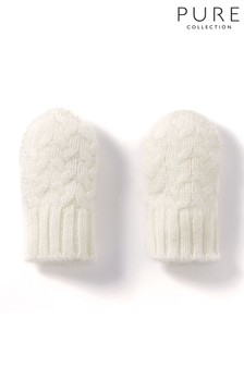 Pure Collection White Cashmere Baby Cable Mitt