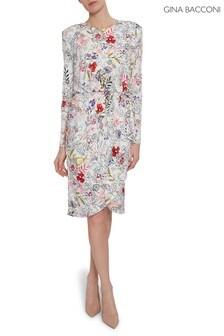 Gina Bacconi White Klea Floral Print Jersey Dress