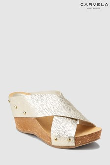 Carvela Comfort Gold Leather Sooty Wedge