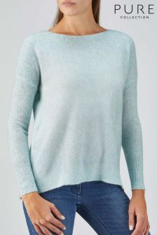 Pure Collection Blue Organic Cashmere Rib Detail Sweater