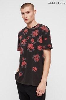 All Saints Black Rose Print Thorn T-Shirt