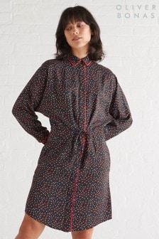 Oliver Bonas Black Ditsy Floral Shirt Dress