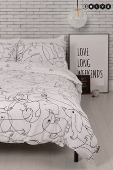 Hive Hot Dog Linear Duvet Cover and Pillowcase Set